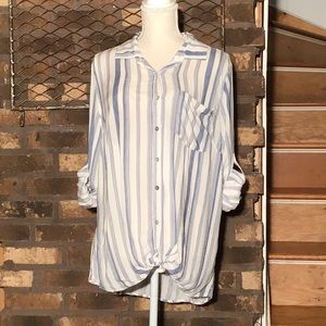 About a Girl blue striped lace back button down XL